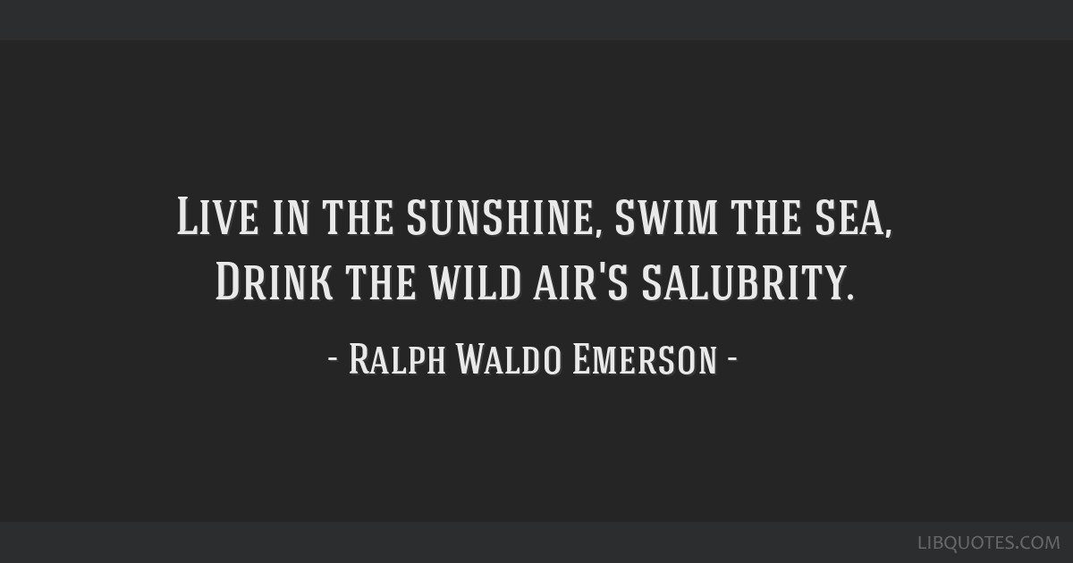 Live In The Sunshine Swim The Sea Drink The Wild Airs Salubrity