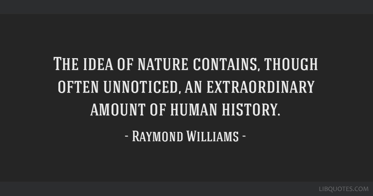 The idea of nature contains, though often unnoticed, an extraordinary amount of human history.