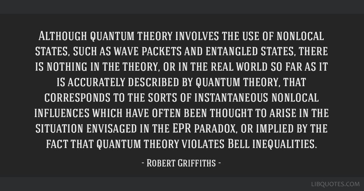 Although quantum theory involves the use of nonlocal states