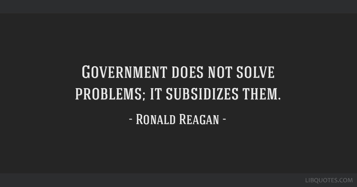 Government does not solve problems; it subsidizes them.