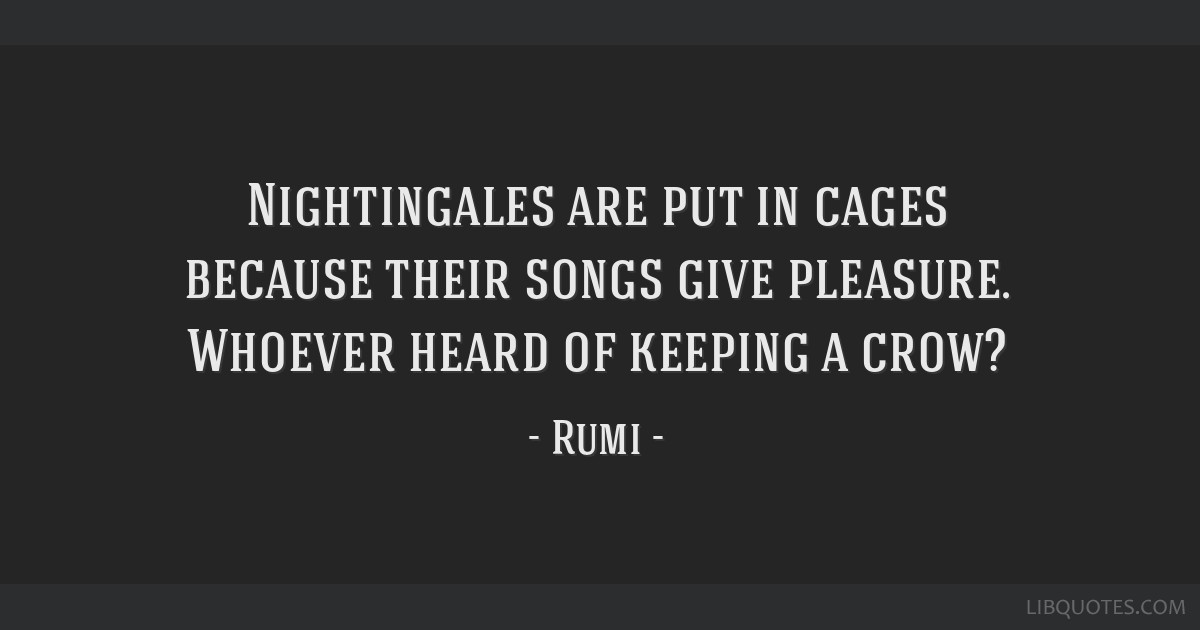 Nightingales are put in cages because their songs give pleasure. Whoever heard of keeping a crow?