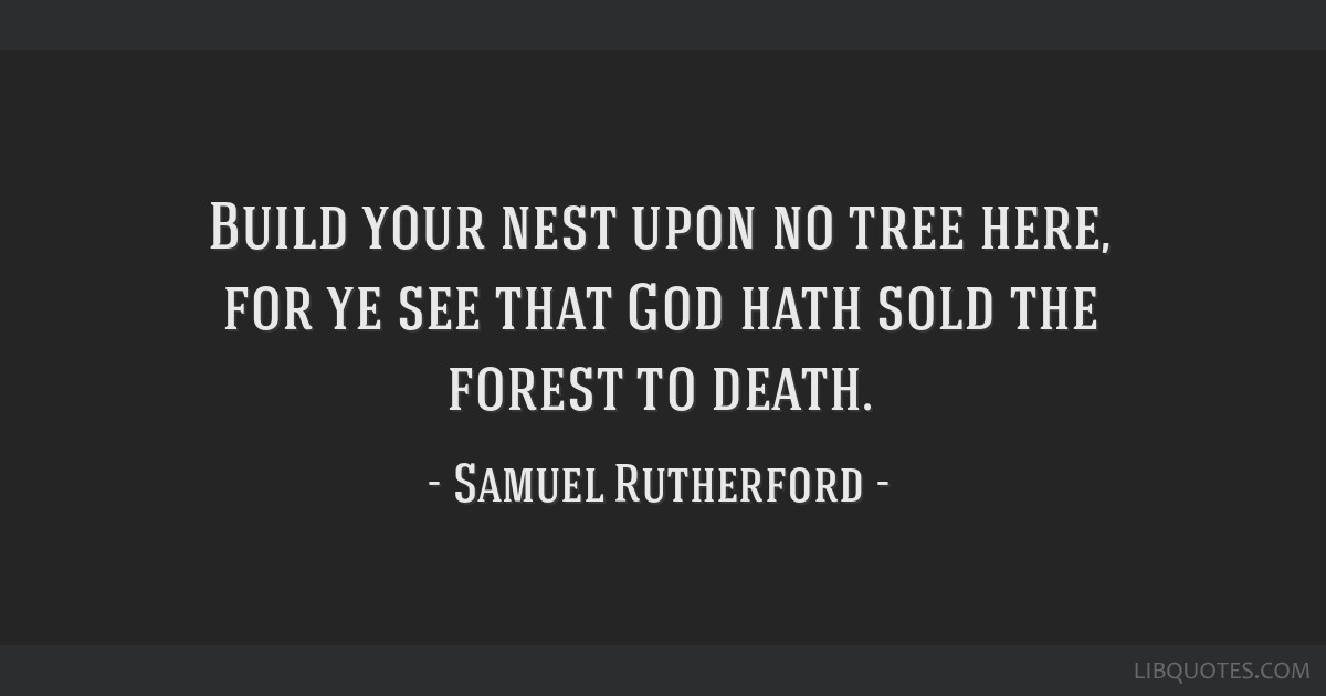 Build your nest upon no tree here, for ye see that God hath sold the forest to death.