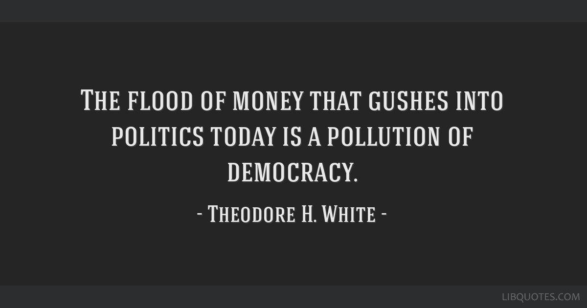 The flood of money that gushes into politics today is a pollution of democracy.