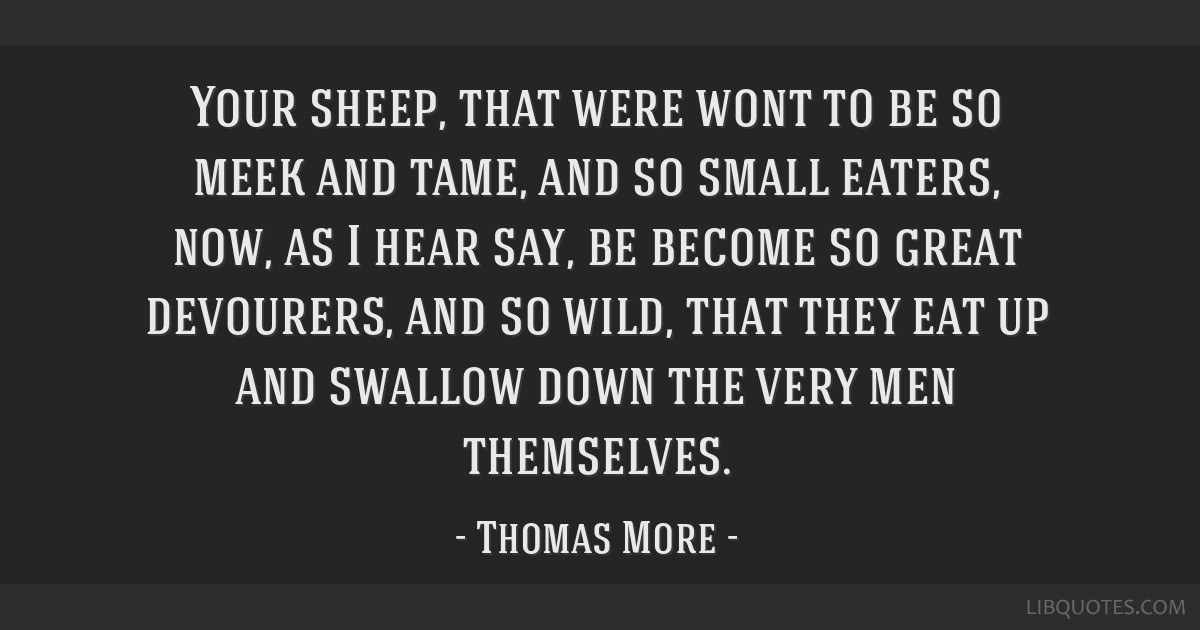 Your sheep, that were wont to be so meek and tame, and so small eaters, now, as I hear say, be become so great devourers, and so wild, that they eat...