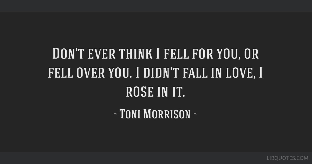 Don't ever think I fell for you, or fell over you. I didn't fall in love, I rose in it.