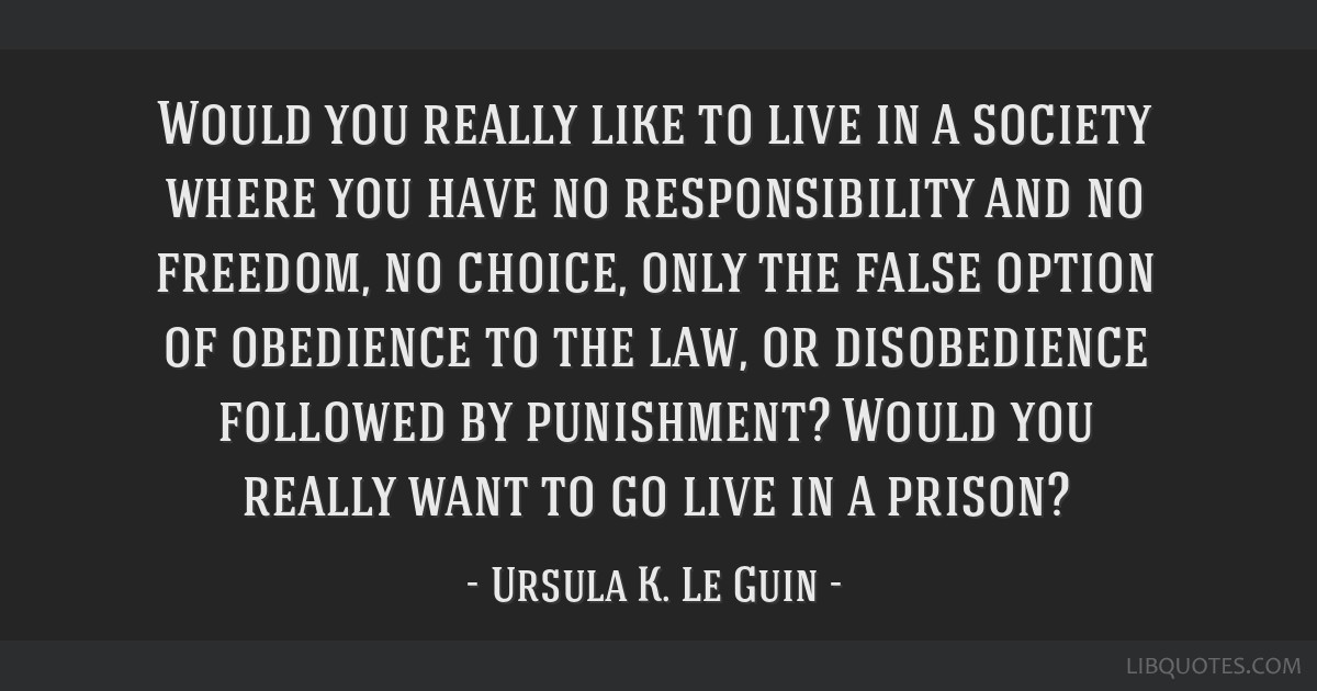 Would you really like to live in a society where you have no responsibility and no freedom, no choice, only the false option of obedience to the law, ...