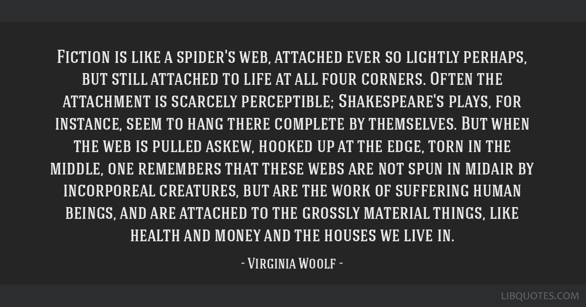 Fiction is like a spider's web, attached ever so lightly perhaps, but still attached to life at all four corners. Often the attachment is scarcely...