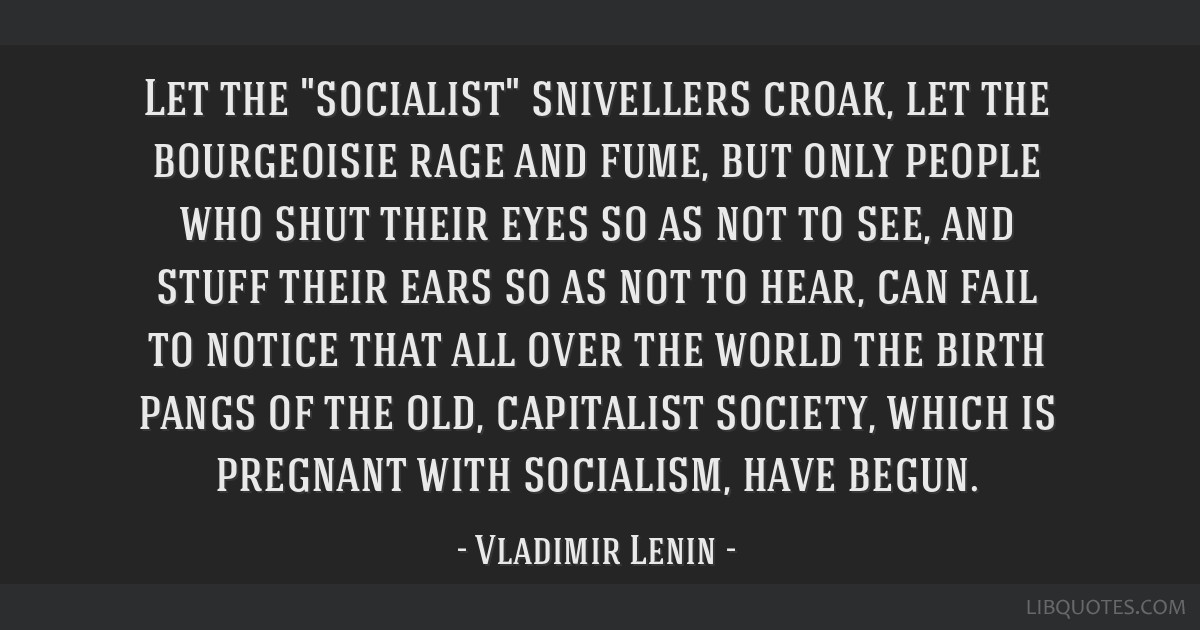 Let the socialist snivellers croak, let the bourgeoisie rage and fume, but only people who shut their eyes so as not to see, and stuff their ears so...