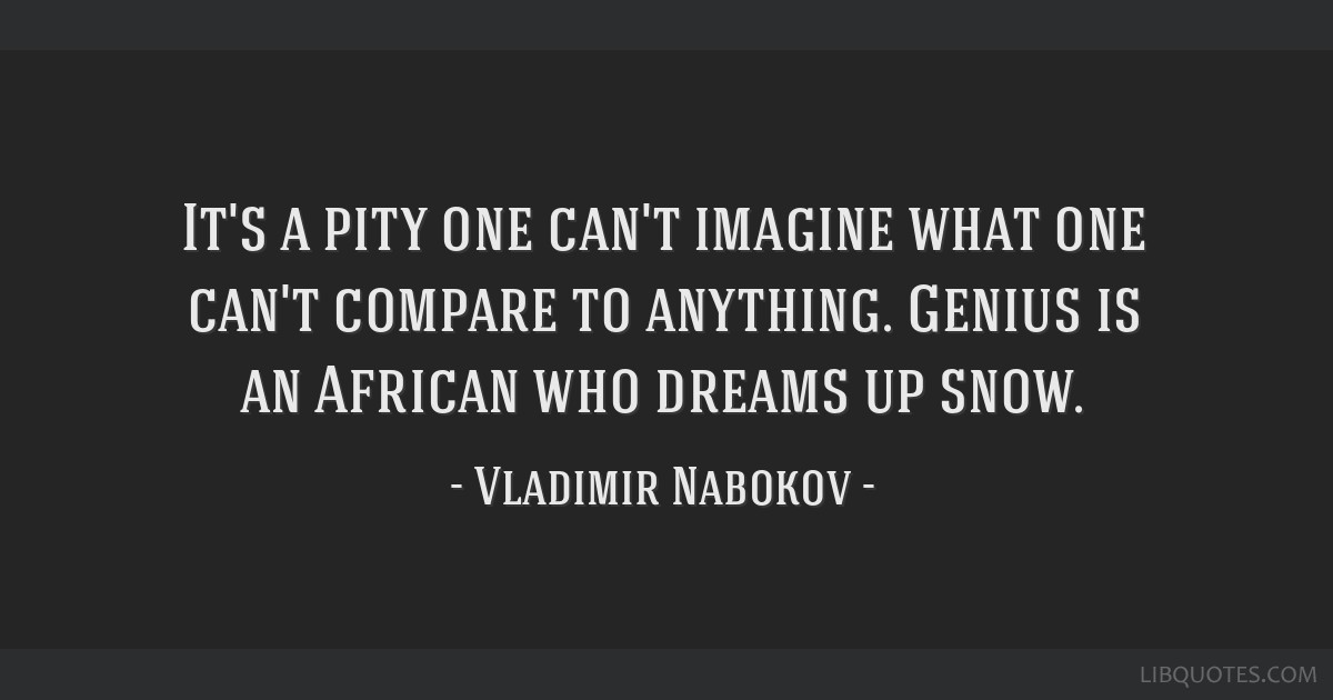 It's a pity one can't imagine what one can't compare to anything. Genius is an African who dreams up snow.