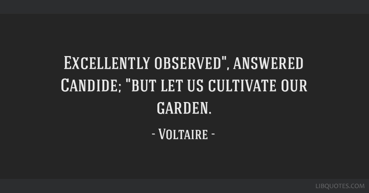 Excellently observed, answered Candide; but let us cultivate our garden.