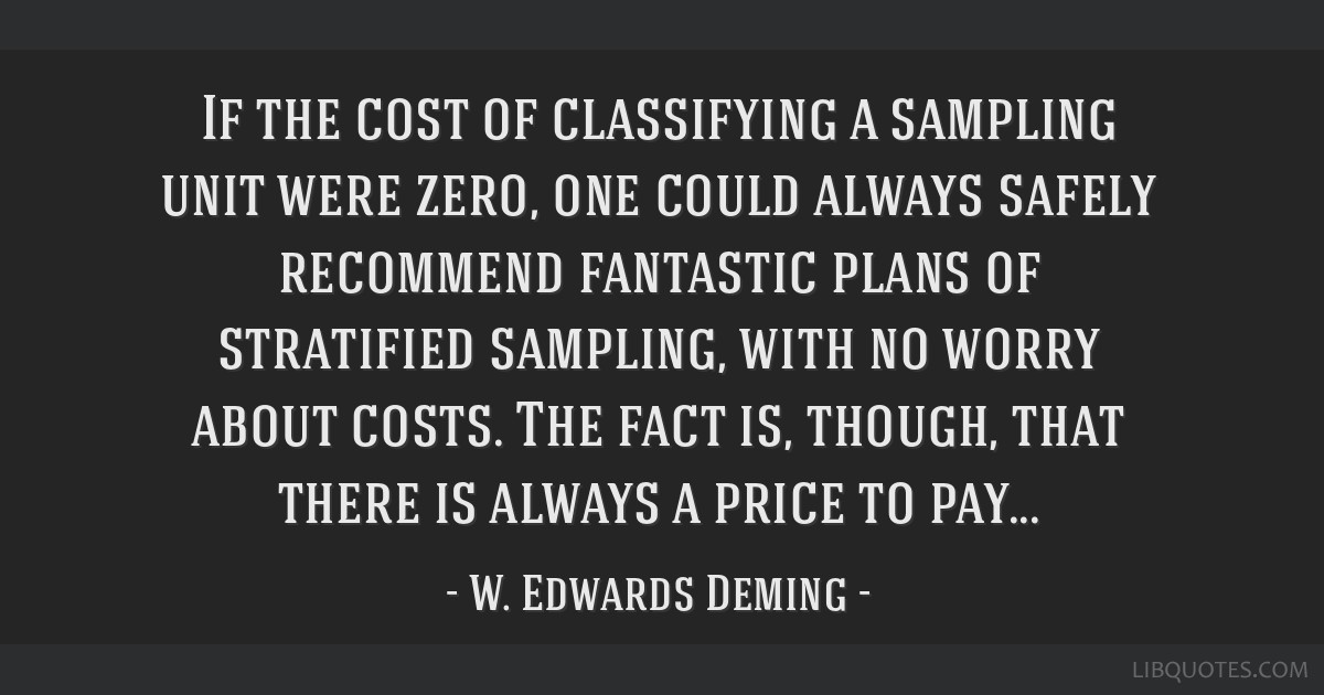 If the cost of classifying a sampling unit were zero, one could always safely recommend fantastic plans of stratified sampling, with no worry about...
