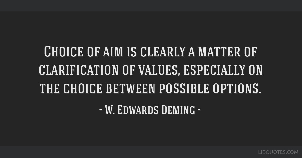 Choice of aim is clearly a matter of clarification of values, especially on the choice between possible options.