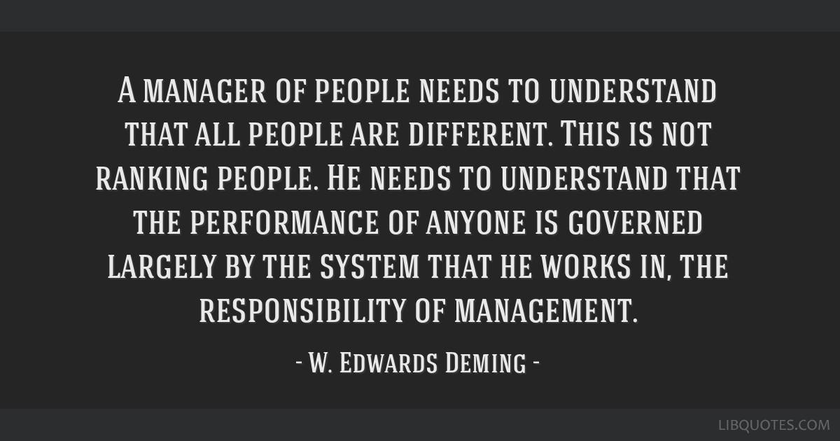 A manager of people needs to understand that all people are different. This is not ranking people. He needs to understand that the performance of...
