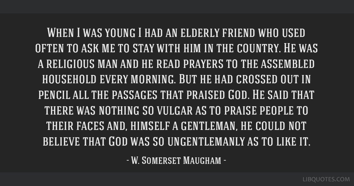 When I was young I had an elderly friend who used often to ask me to stay with him in the country. He was a religious man and he read prayers to the...