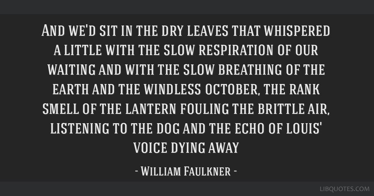 And we'd sit in the dry leaves that whispered a little with the slow respiration of our waiting and with the slow breathing of the earth and the...