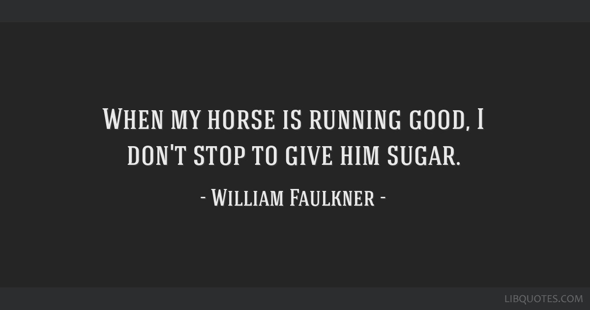 When my horse is running good, I don't stop to give him sugar.