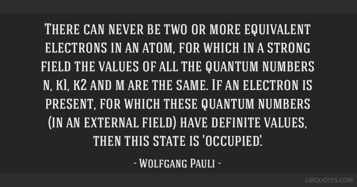 There can never be two or more equivalent electrons in an atom, for which in a strong field the values of all the quantum numbers n, k1, k2 and m are ...