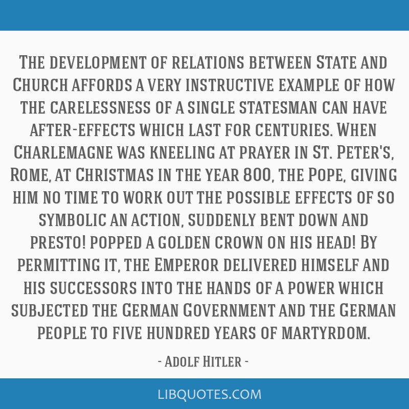 The Development Of Relations Between State And Church Affords A Very