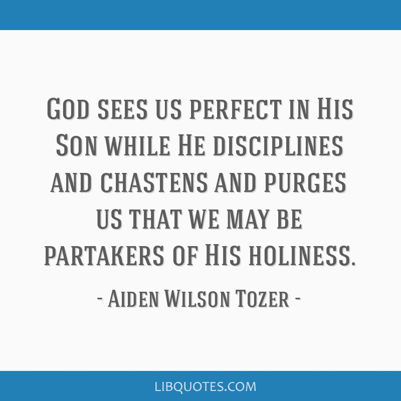God sees us perfect in His Son while He disciplines and chastens and purges us that we may be partakers of His holiness.