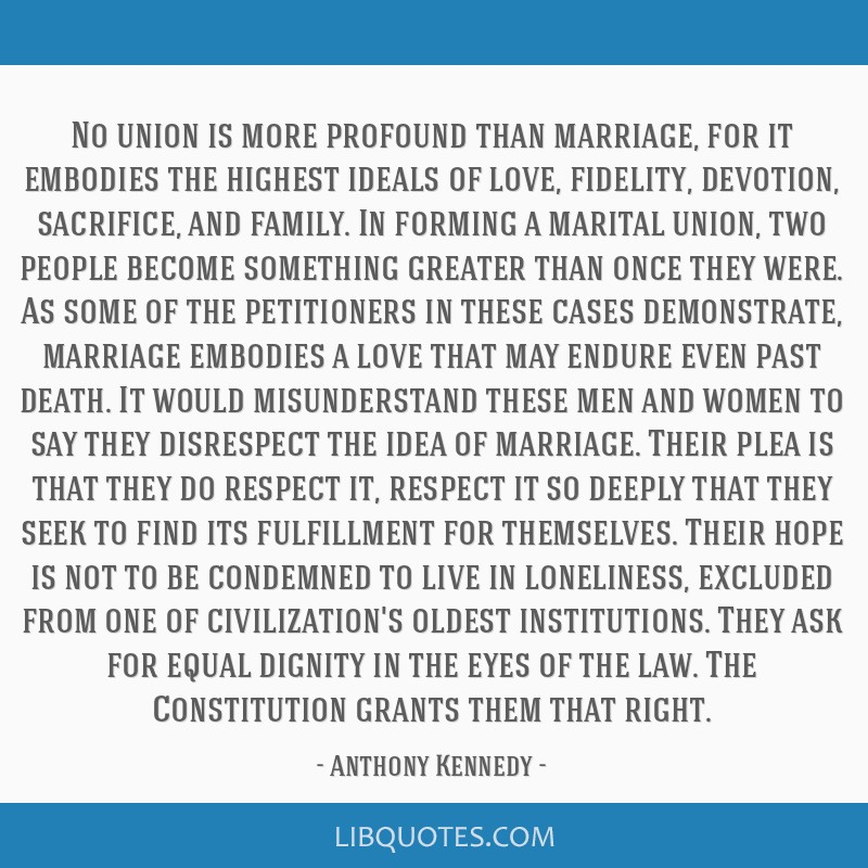 No union is more profound than marriage, for it embodies the highest ideals of love, fidelity, devotion, sacrifice, and family. In forming a marital...