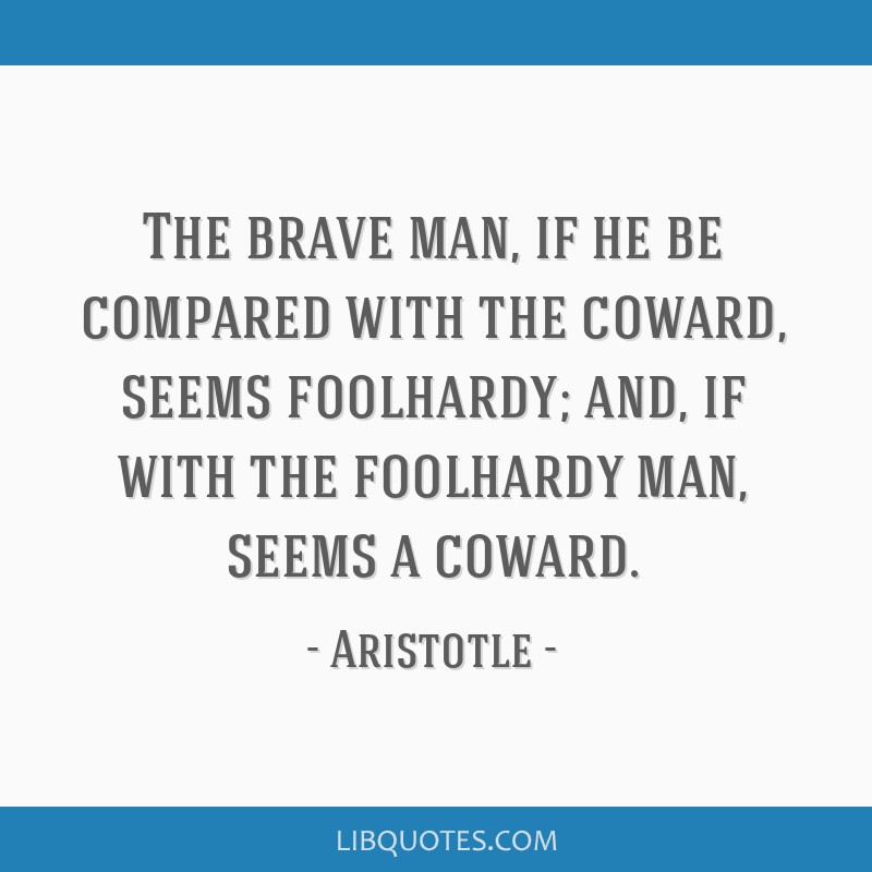 The brave man, if he be compared with the coward, seems foolhardy; and, if with the foolhardy man, seems a coward.