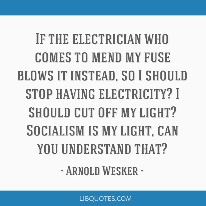 If the electrician who comes to mend my fuse blows it instead, so I should stop having electricity? I should cut off my light? Socialism is my light, ...