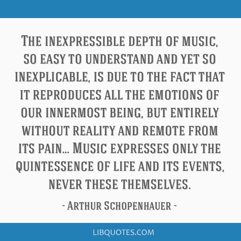 The inexpressible depth of music, so easy to understand and yet so inexplicable, is due to the fact that it reproduces all the emotions of our...
