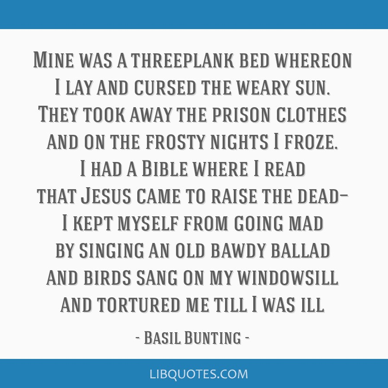 Mine was a threeplank bed whereon I lay and cursed the weary sun. They took away the prison clothes and on the frosty nights I froze. I had a Bible...