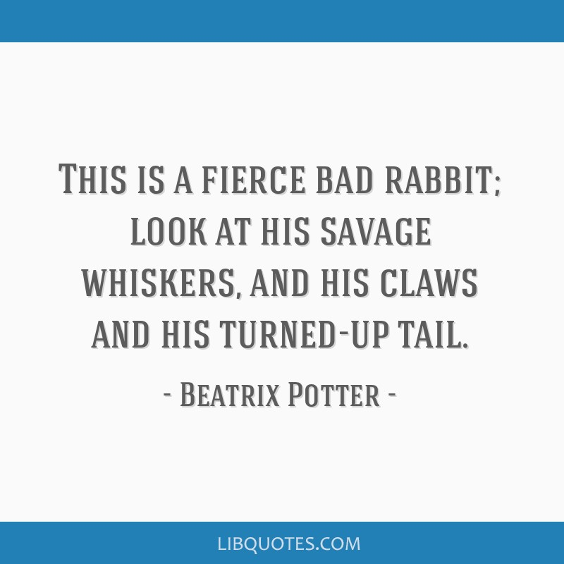 This is a fierce bad rabbit; look at his savage whiskers, and his claws and his turned-up tail.