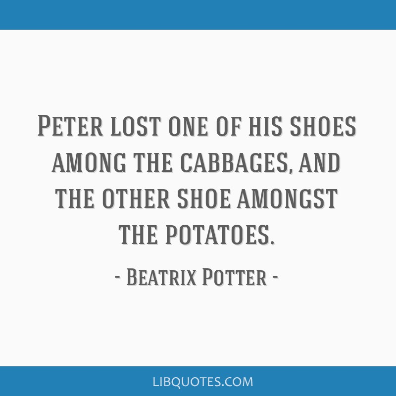 Peter lost one of his shoes among the cabbages, and the other shoe amongst the potatoes.