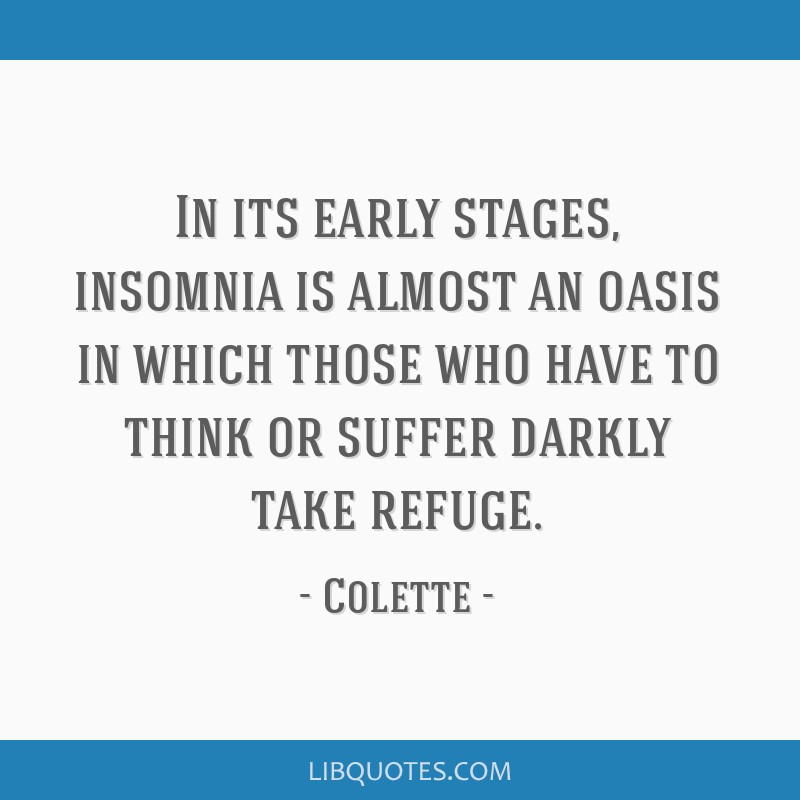 In its early stages, insomnia is almost an oasis in which those who have to think or suffer darkly take refuge.