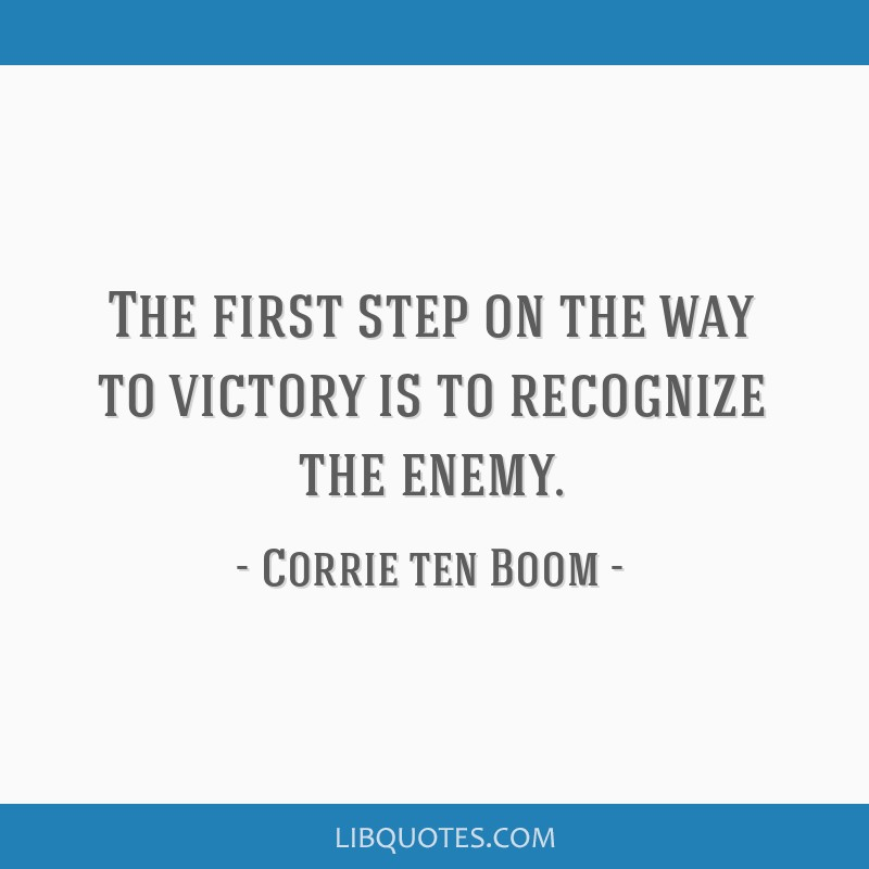 The first step on the way to victory is to recognize the enemy.
