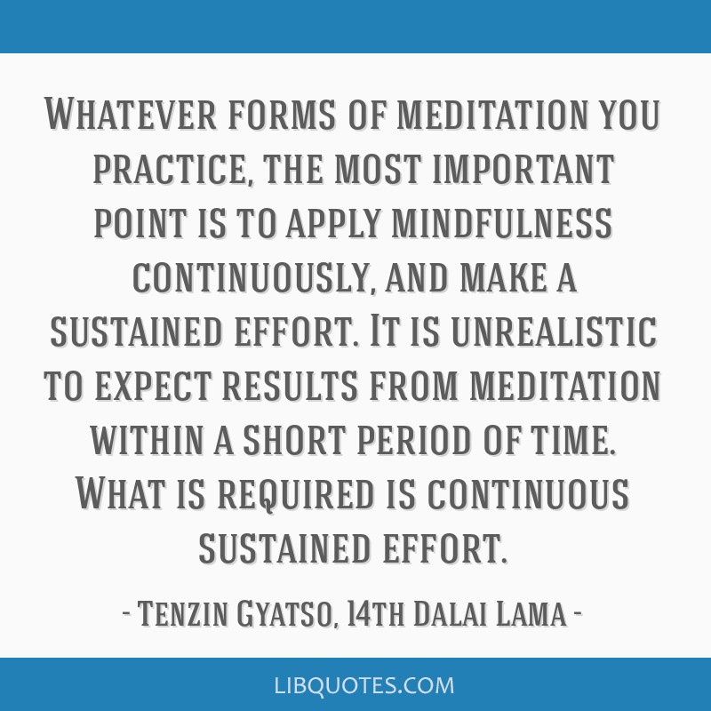 Whatever forms of meditation you practice, the most important point is to apply mindfulness continuously, and make a sustained effort. It is...