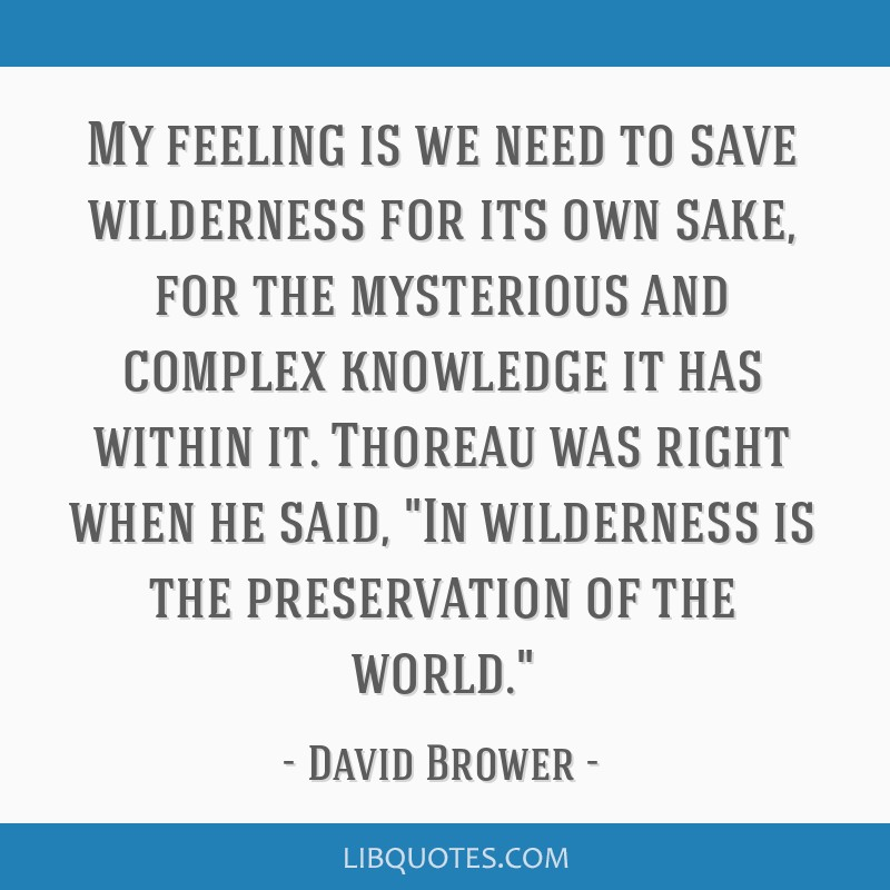 My feeling is we need to save wilderness for its own sake, for the mysterious and complex knowledge it has within it. Thoreau was right when he said, ...