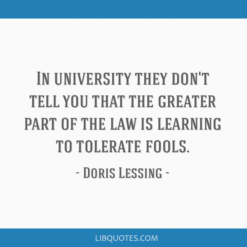 In university they don't tell you that the greater part of the law is learning to tolerate fools.