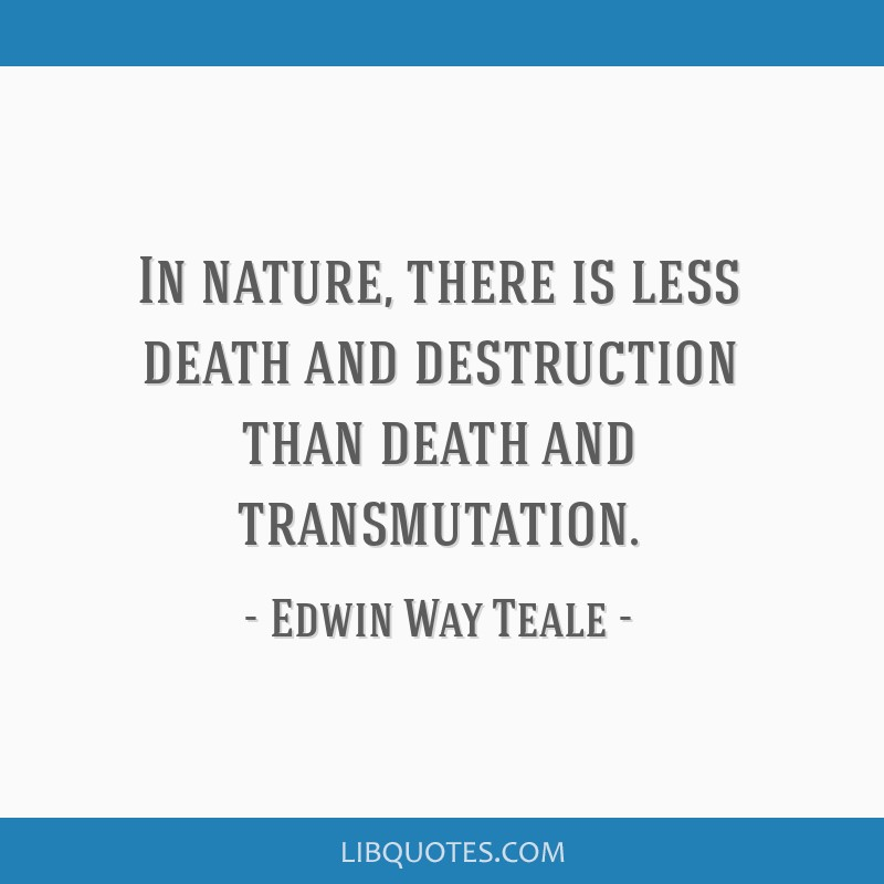 In nature, there is less death and destruction than death and transmutation.