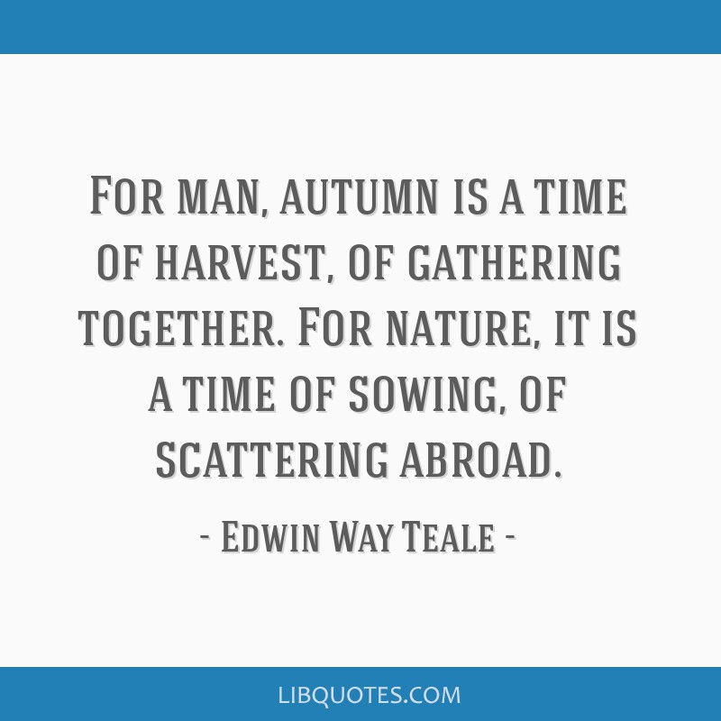 For man, autumn is a time of harvest, of gathering together. For nature, it is a time of sowing, of scattering abroad.