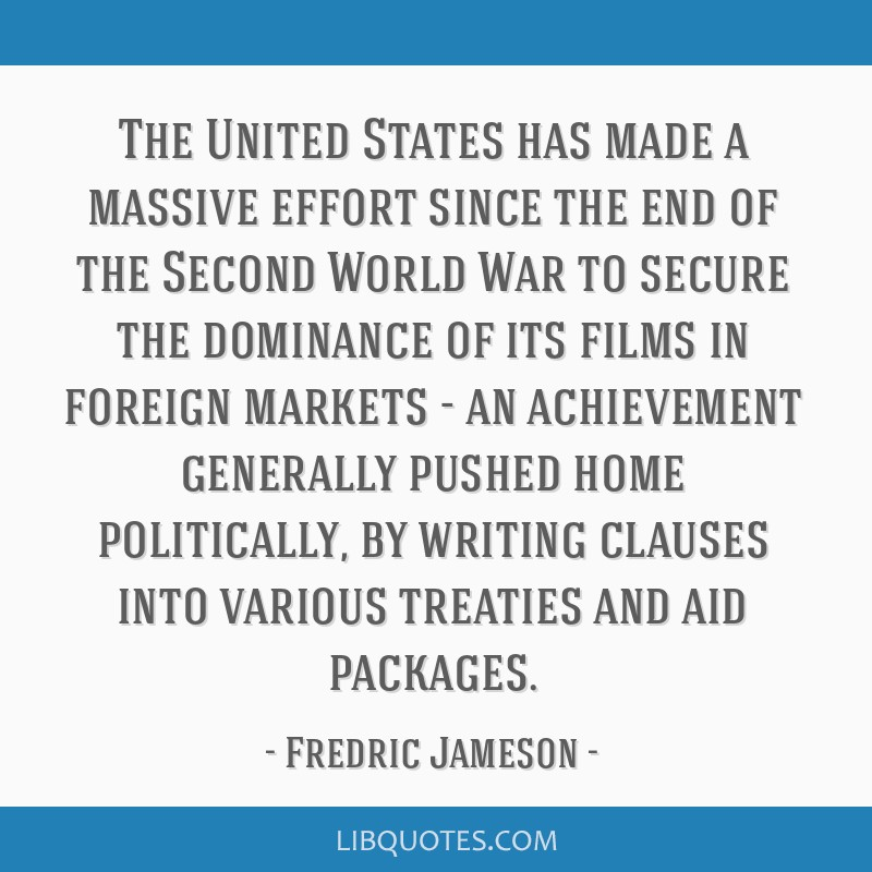 The United States has made a massive effort since the end of the Second World War to secure the dominance of its films in foreign markets - an...