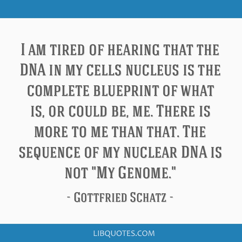 I am tired of hearing that the DNA in my cells nucleus is the complete blueprint of what is, or could be, me. There is more to me than that. The...