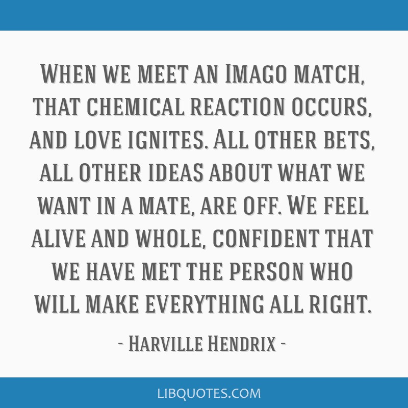 When We Meet An Imago Match That Chemical Reaction Occurs And Love
