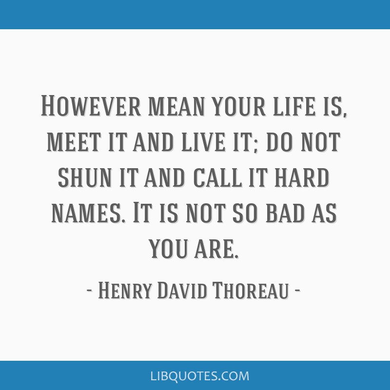 However mean your life is, meet it and live it; do not shun it and call it hard names. It is not so bad as you are.
