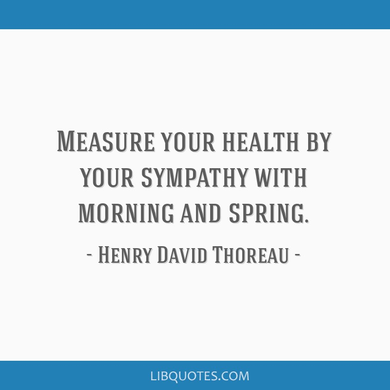Measure your health by your sympathy with morning and spring.