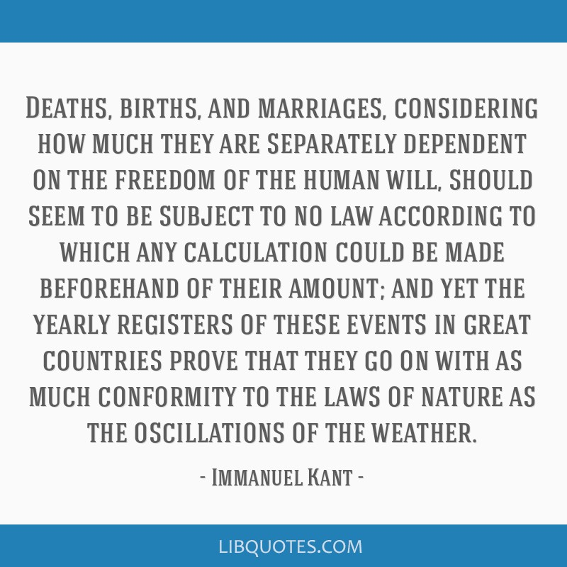 Deaths, births, and marriages, considering how much they are separately dependent on the freedom of the human will, should seem to be subject to no...