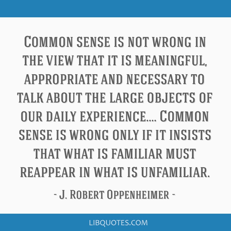 Common sense is not wrong in the view that it is meaningful, appropriate and necessary to talk about the large objects of our daily experience.......