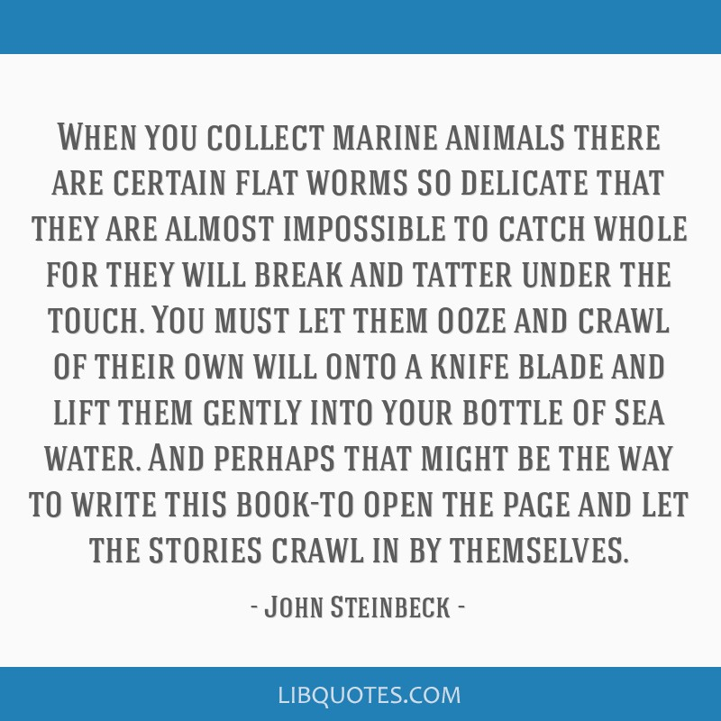 When you collect marine animals there are certain flat worms so delicate that they are almost impossible to catch whole for they will break and...