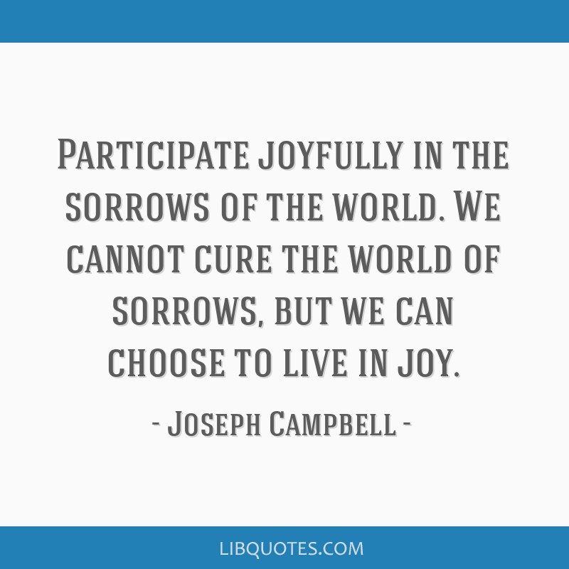 Participate joyfully in the sorrows of the world. We cannot cure the world of sorrows, but we can choose to live in joy.