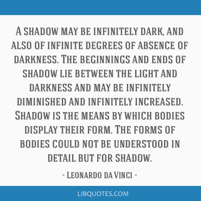 A shadow may be infinitely dark, and also of infinite degrees of absence of darkness. The beginnings and ends of shadow lie between the light and...