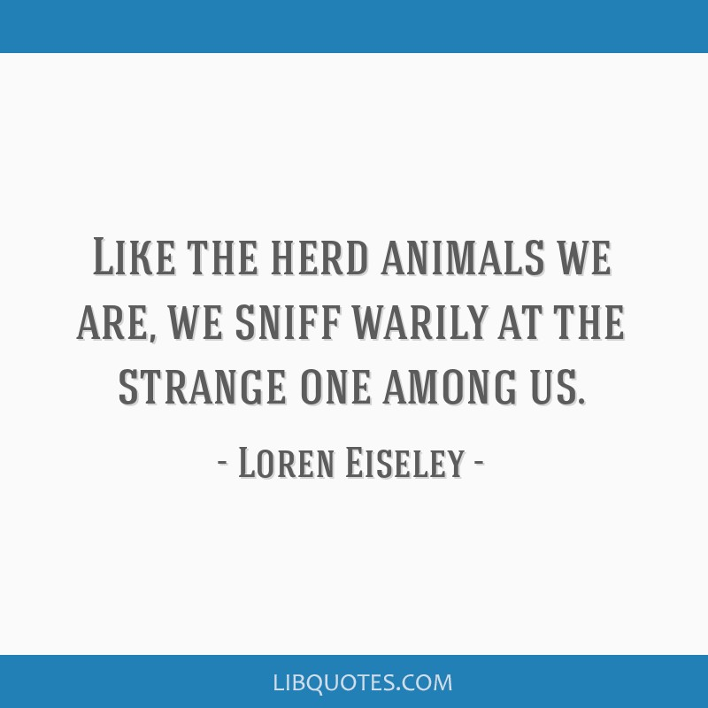 Like the herd animals we are, we sniff warily at the strange one among us.