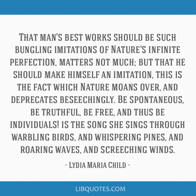 That man's best works should be such bungling imitations of Nature's infinite perfection, matters not much; but that he should make himself an...