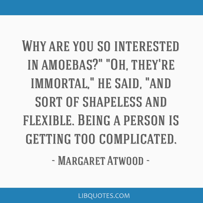 Why are you so interested in amoebas? Oh, they're immortal, he said, and sort of shapeless and flexible. Being a person is getting too complicated.